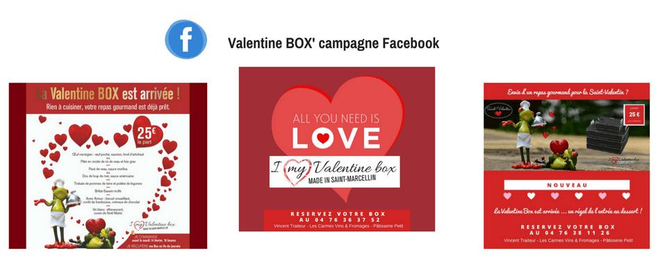 Visuels de la campagne Facebook Valentine Box réalisée par Boostacom