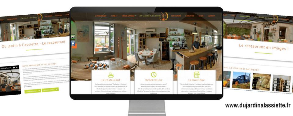 réalisation du site internet vitrine + e-commerce du jardin à l'assiette