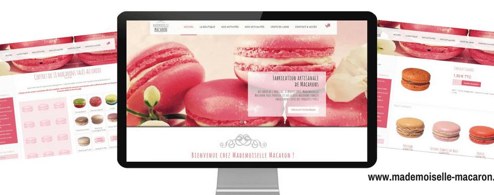 réalisation du site internet vitrine + e-commerce de MELLE MACARON