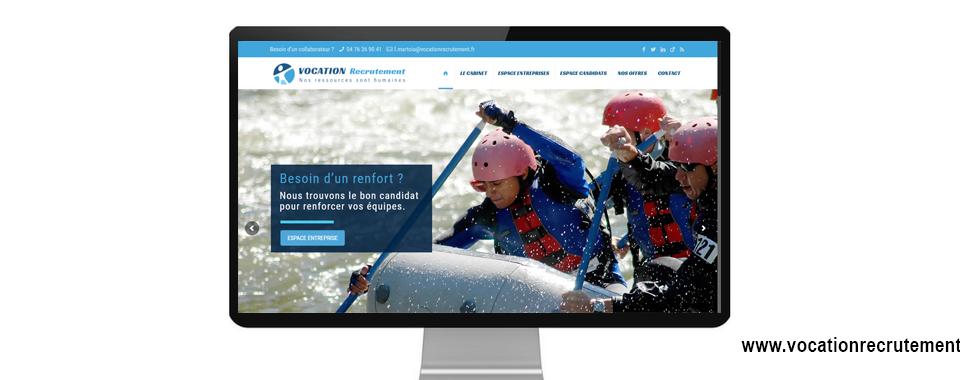 Page d'accueil de la réalisation du site internet de vocation recrutement