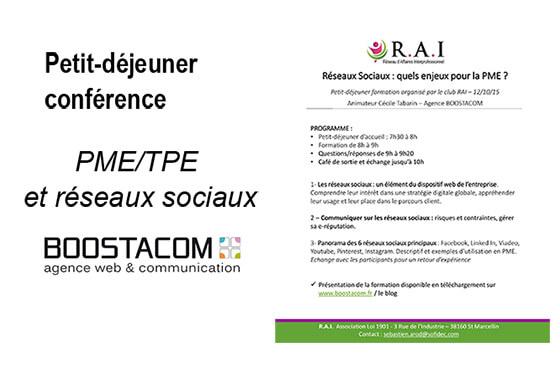 Article réalisé par Cécile Tabarin sur la conférence du RAI intitulé : Réseaux sociaux, quels enjeux pour la PME ?